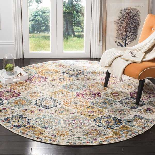 Safavieh Madison Bohemian Vintage Cream/ Multi Distressed Rug - 5' x 5' round