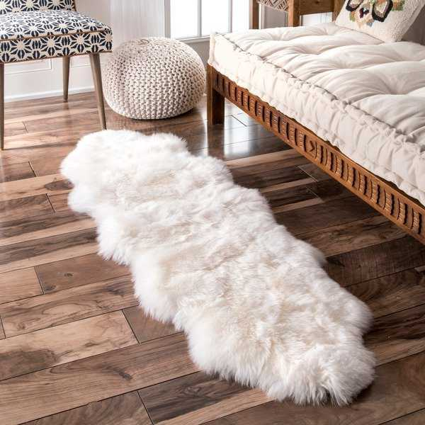nuLOOM Alexa Double Natural Soft Sheepskin Wool Shag Rug - 1'6' x 5'6'
