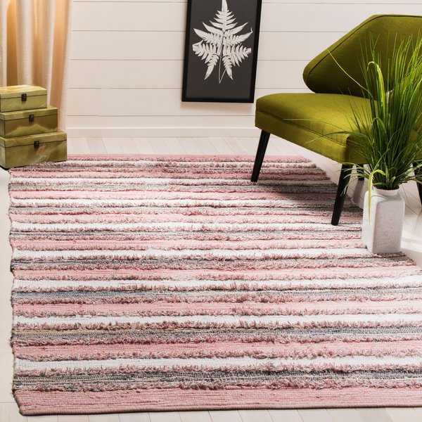 Safavieh Hand-Woven Montauk Modern & Contemporary Pink / Multi Cotton Rug - 5' x 8'