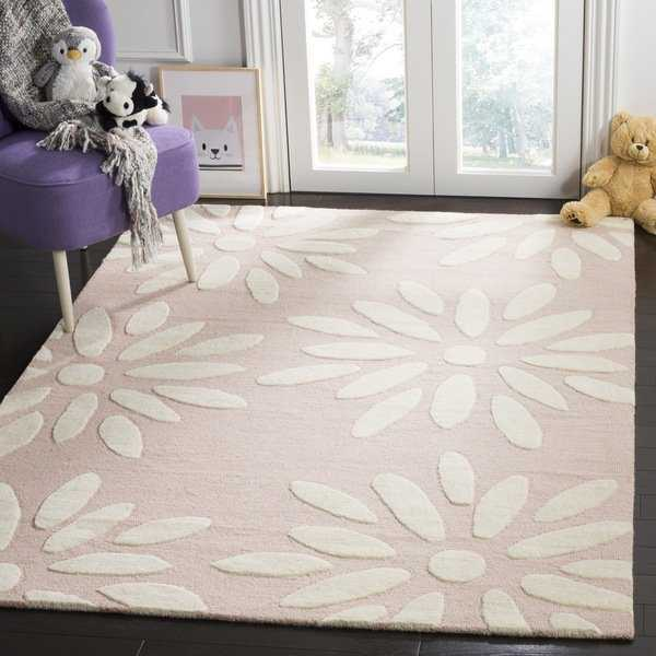 Safavieh Kids Transitional Geometric Hand-Tufted Wool Pink/ Ivory Area Rug - 3' x 5'