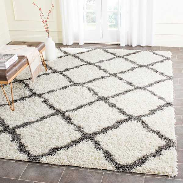 Safavieh Dallas Shag Ivory/ Dark Grey Trellis Rug - 8'6' x 12'