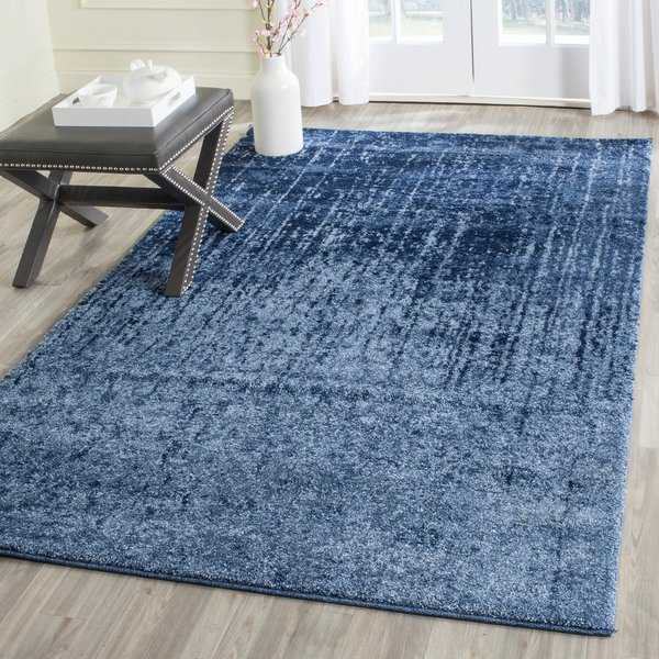 Safavieh Retro Mid-Century Modern Abstract Light Blue/ Blue Distressed Rug - 5' x 8'