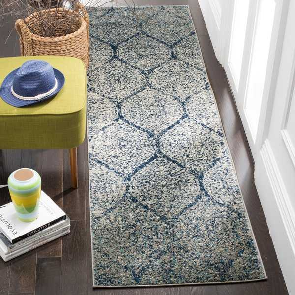 Safavieh Madison Vintage Boho Glam Navy/ Silver Runner Rug - 2'3' x 12'