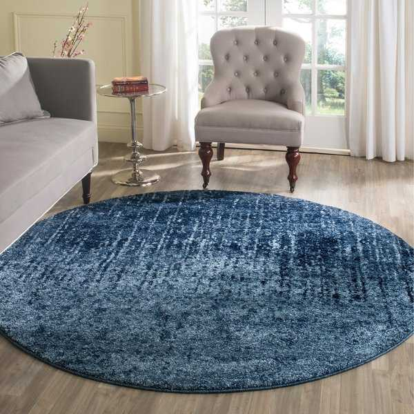 Safavieh Retro Modern Abstract Light Blue/ Blue Area Rug - 4' x 4' Round